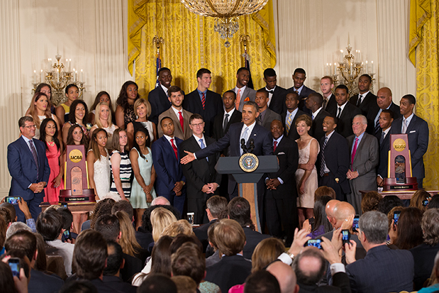 President Obama addresses the UConn men's and women's basketball teams and guests in the White House East Room on June 9, 2014.(Stephen Slade '89 (SFA) for UConn)
