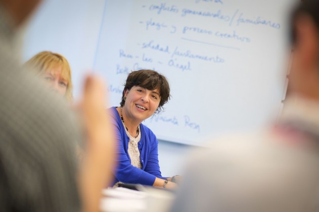 Ana Maria Diaz-Marcos, associate professor of literature. culture and languages, leads an early college experience summer training institute for high school spanish teachers held at Oak Hall on Aug. 14, 2014. (Peter Morenus/UConn Photo)