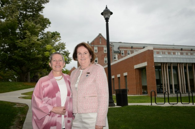 Robin Froman, left, and Regina Cusson, dean of nursing, outside the School of Nursing on Aug. 22, 2014. (Peter Morenus/UConn Photo)