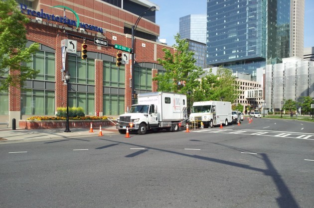 IMCORP working in front of a hospital in downtown Charlotte, N.C. (Photo supplied by IMCORP)