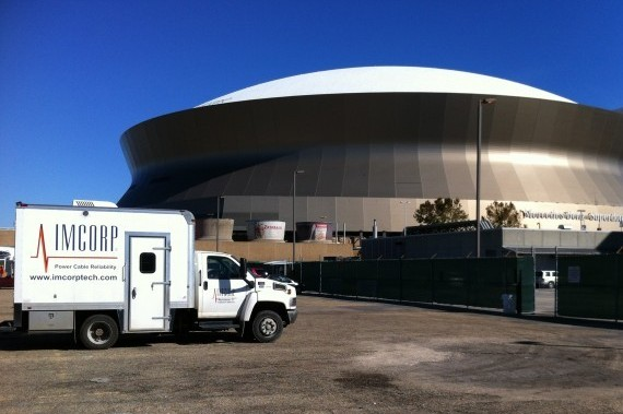 An IMCORP van outside the Mercedes-Benz Superdome in New Orleans. (Photo supplied by IMCORP)