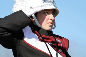 Kaitlyn Wallace '18 (CLAS) as a drum major in the Torrington High School Marching Band. (Photo courtesy of Marianne Killackey)