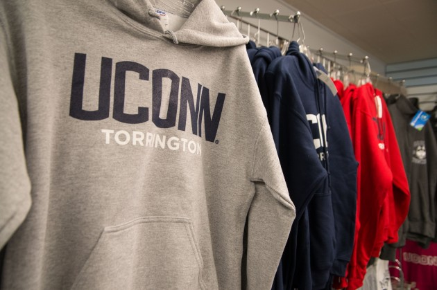 UConn Torrington sweat shirts for sale at the Torrington campus on April 16, 2014. (Peter Morenus/UConn Photo)