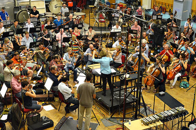 JoAnn Falletta, Roderick Williams, and members of the London Symphony Orchestra record 'Songs of Innocence and of Experience' in Abbey Road Studio 2 in London. (Chris von Rosenvinge photo)