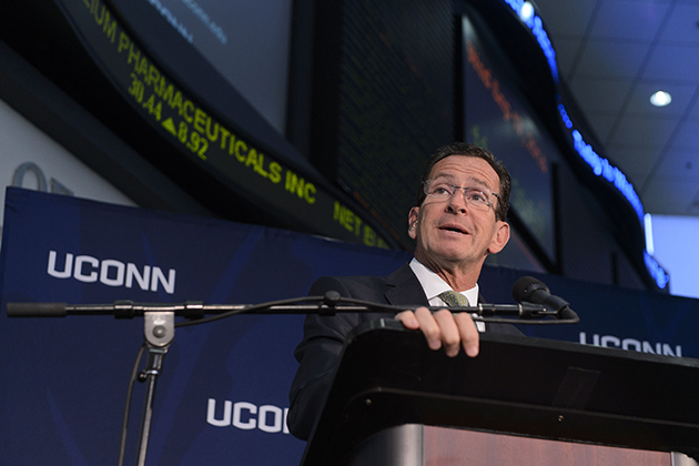 Gov. Dannel P. Malloy speaks at an event to announce the results of a study of the economic impact of the University, held at UConn's SS&C Technologies Financial Accelerator in Hartford on Sept. 17. (Peter Morenus/UConn Photo)