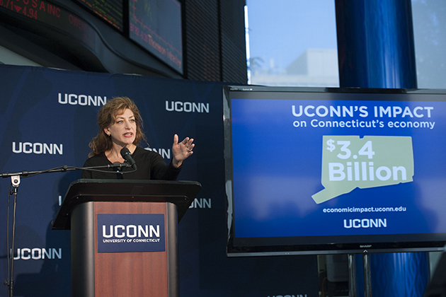 University President Susan Herbst speaks at an event to announce the results of a study on the economic impact of the university held at UConn's SS&C Technologies Financial Accelerator in Hartford on Sept. 17. (Peter Morenus/UConn Photo)