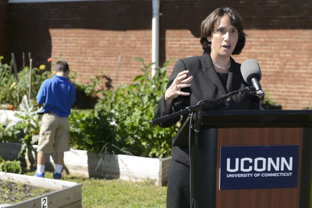 Marlene Schwartz, director of the Rudd Center, speaks at an event held at Goodwin Elementary School in East Hartford to announce the move to UConn of the Rudd Center for Food Policy and Obesity on Sept. 12. (Peter Morenus/UConn Photo)