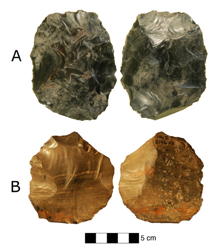 Tools retrieved from the site at Nor Geghi 1. A) was made using biface technology, B) is a Levallois core. (Image courtesy of Dan Adler)