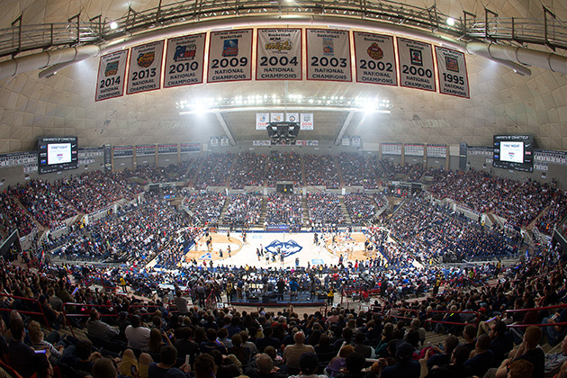 Gampel Pavilion on First Night, Oct. 17. New lights to be installed this winter will drastically reduce energy consumption and costs at the arena. (Stephen Slade '89 (SFA) for UConn)