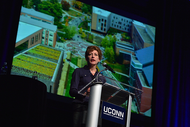 President Susan Herbst gives the State of the University address at the Jorgensen Center for the Performing Arts on Oct. 16, 2014. (Peter Morenus/UConn Photo)