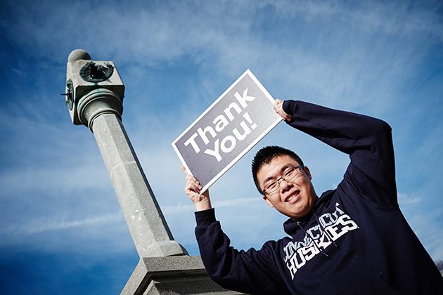 Calvin Ng, this year's recipient of the Close to Home Scholarship established by faculty and staff. (Peter Morenus/UConn Photo)
