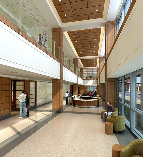 The Main Lobby in the Outpatient Pavilion. (Rendering by Perkins Eastman)