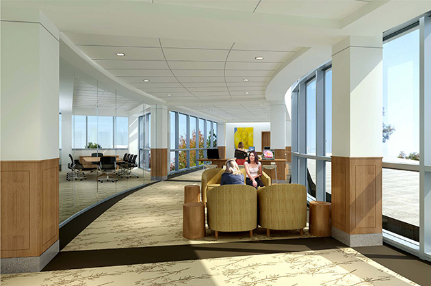 The Patient and Family Education Center. (Rendering by Perkins Eastman)