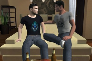 A screen shot from a video game developed by John Christensen, assistant professor of communication, to reduce HIV risk behavior.