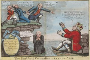 A cartoon depicting the Hartford Convention (Dec. 15, 1814-Jan. 5, 1815), a secret meeting of Federalist delegates from Connecticut, Rhode Island, Massachusetts, New Hampshire, and Vermont, at Hartford, Conn., inspired by Federalist opposition to President James Madison's mercantile policies and the War of 1812. (Historicalstockphotos.com Image)