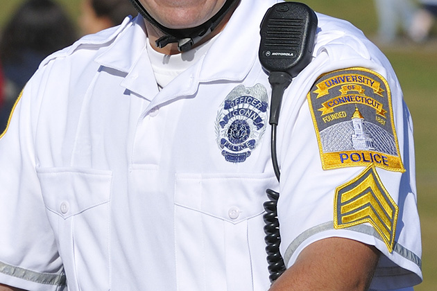 A UConn police officer's badge. (Peter Morenus/UConn Photo)