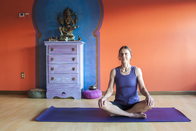Psychology professor Crystal Park at a yoga studio in Mystic. (Sean Flynn/UConn Photo)