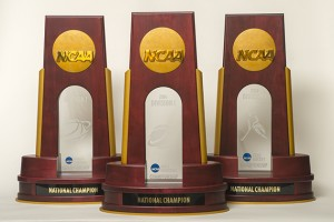 NCAA 2014 championship trophies for women's basketball, field hockey, and men's basketball. (Peter Morenus/UConn Photo)