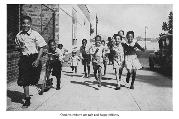 The 'obedient children' described in this image's caption run exuberantly down the street. From Louis B. Reynolds and Charles L. Paddock, Little Journeys into Storyland: Stories That Will Live and Lift (Nashville: Southern Publishing Association, 1947). Figure 2.10 from Civil Rights Childhood, Courtesy of University of Minnesota Press)