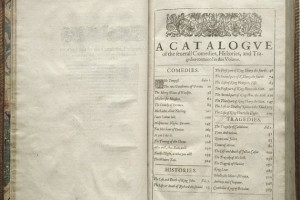 "Table of Contents from the ""First Folio"" -- the first collected edition of William Shakespeare's plays published in 1623. (Courtesy of the Folger Shakespeare Library)"