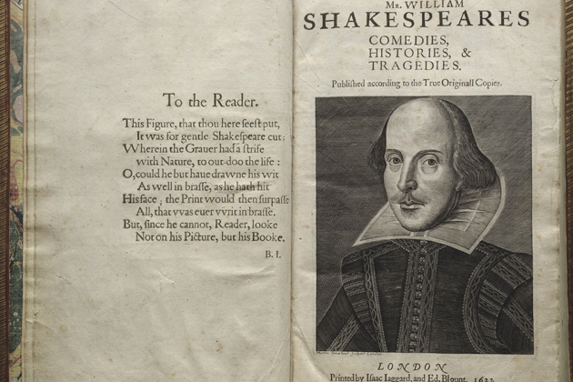 "Title page from ""First Folio"" -- the first collected edition of William Shakespeare's plays published in 1623. (Courtesy of the Folger Shakespeare Library)"