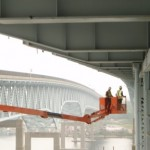 Department of Transportation staff inspect a Connecticut bridge.