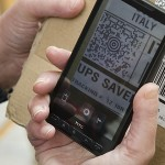 QR code on a smartphone.