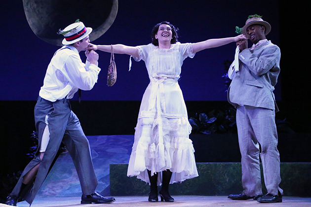 From left, MFA acting candidates Michael Bobenhausen (Lysander), Arlene Bozich (Helena), and Bryce Wood (Demetrius) in the Connecticut Repertory Theatre's production of Shakespeare's 'A Midsummer Night's Dream.' (Gerry Goodstein for UConn)