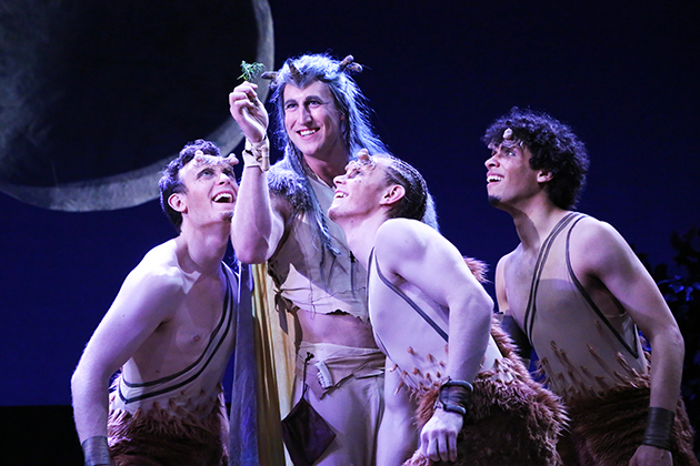 From left, Gabriel Aprea '15 (SFA) (Puck), MFA acting candidate Curtis Longfellow (Oberon), Conor Donnally '15 (SFA) (Puck), and Scott Redmond '17 (SFA) (Puck) cause trouble in the Connecticut Repertory Theatre's production of Shakespeare's 'A Midsummer Night's Dream.' (Gerry Goodstein for UConn)