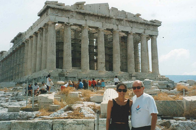 Former UConn President Harry Hartley and his wife Dianne on vacation in Greece. (Photo courtesy of Harry Hartley)