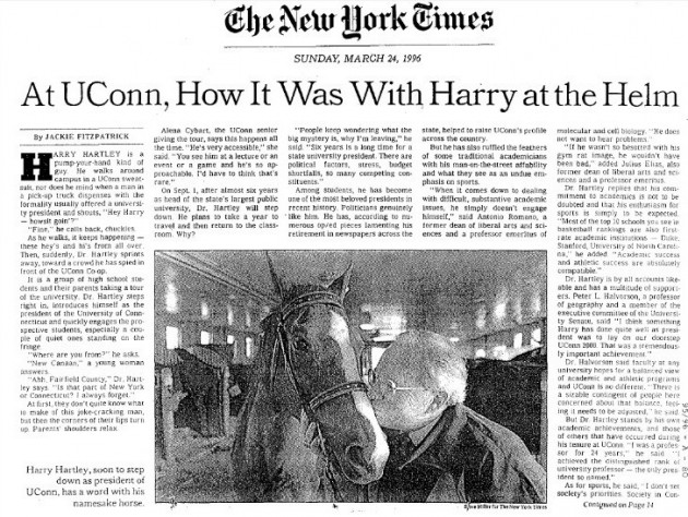 A 1996 New York Times article about Harry Hartley, shortly before he stepped down as UConn President. The article describes Hartley as 'one of the most beloved presidents in recent history' among students.