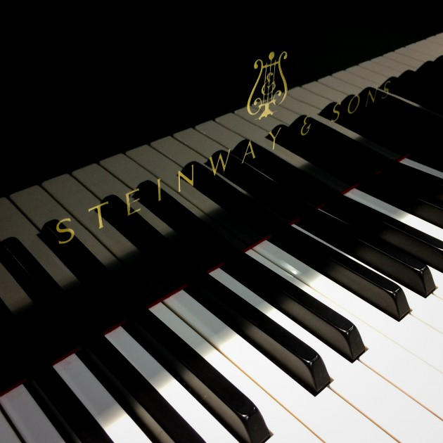 """A new Steinway & Sons model """"o"""" grand piano was just delivered to the School of Fine Arts on May 7, 2015. (Peter Morenus/UConn Photo)"""