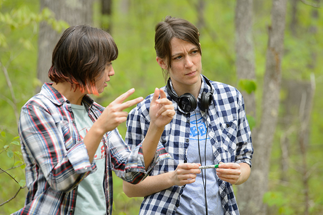 Sarah Nolen, a graduate student in puppet arts, directs the production of
