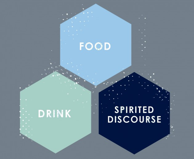 Secondary graphic for the UConn Science Salon, with the words Food, Drink, and Spirited Discourse. (Christa Tubach/UConn Graphic)