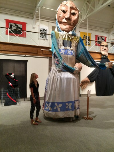 I'm in awe of this approximately 20-foot-high puppet, Washerwoman, created by Peter Schumann to speak out against nuclear weapons in New York in 1982. Washerwoman is part of a display at the Benton Museum through mid-August. (Abby Mace/UConn Photo)