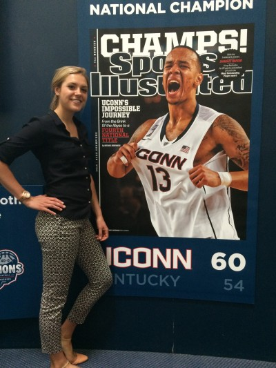 I'm all smiles for my Sports Illustrated shoot with 2014 NCAA champion point guard, Shabazz Napier. (Abby Mace/UConn Photo)