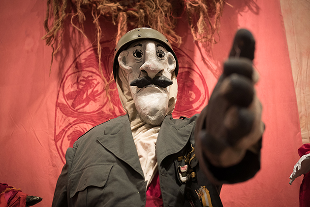 Detail from 'The Birdcatcher in Hell,' part of the Bread and Puppet Theater exhibit at the Benton Museum on May 22, 2015. (Peter Morenus/UConn Photo)
