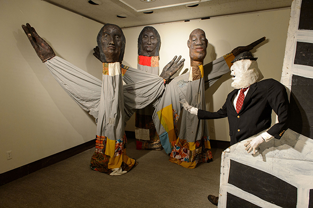 'City of Brotherly Love Passion Play.' part of the Bread and Puppet Theater exhibit at the Benton Museum on May 22, 2015. (Peter Morenus/UConn Photo)