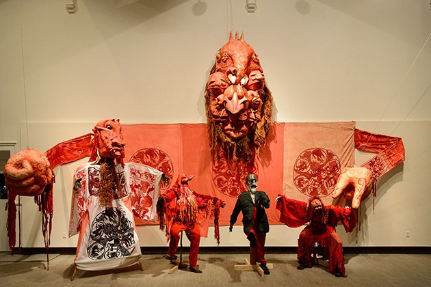 'The Birdcatcher from Hell,' part of the Bread and Puppet Theater exhibit at the Benton Museum on May 22, 2015. (Peter Morenus/UConn Photo)