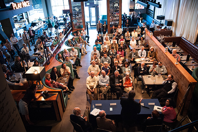 The science cafe, which was facilitated by the University and the UConn Foundation, drew a sold-out crowd of 120 alumni, faculty, staff, and members of the public. (Peter Morenus/UConn Photo)