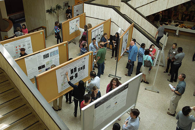 The poster session for Graduate Research Day 2015 was held in the lobby of the Academic Lobby of the Main Building. (Stephanie Rauch/UConn Health Photo)