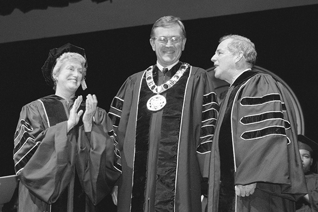 Lt. Gov. Jodi Rell and Lewis Rome, chair of the Board of Trustees, show their appreciation following Austin's investiture as president.  PHOTO BY PETER MORENUS
