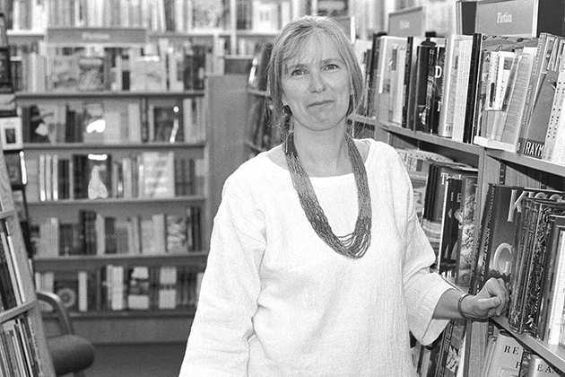 Suzanne Stabach, manager of the Co-op's general book division, says challenges to books are part of today's turbulent times. 1995 photo