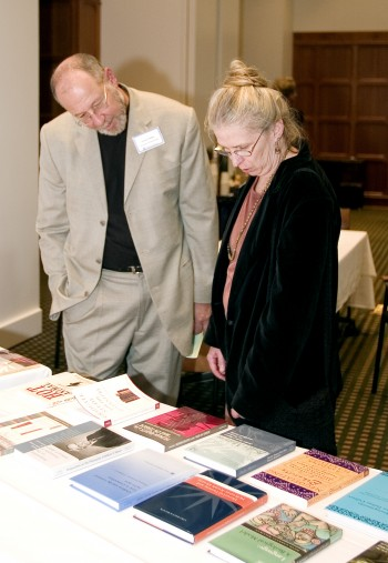 Left to right, Brinley Franklin, Vice Provost of the Libarary, speaks with Suzy Staubach, general books division manager at the Co-op, about the newly published humanities books during the Ross MacKinnon and Humanities Institute host celebration on October 11, 2005, at the Foundation building.