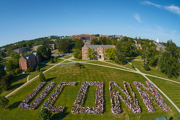 More than 3,000 members of the UConn Class of 2019, part of the University's largest-ever freshman class, pose for a photo on the Great Lawn at the Storrs Campus. (Peter Morenus/UConn Photo)