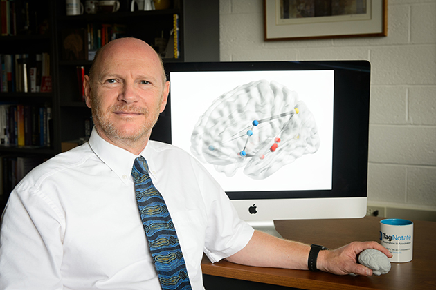 Gerald Altmann, professor of psychology and director of the Institute for Brain and Cognitive Science, on Sept. 22, 2015. (Peter Morenus/UConn Photo)