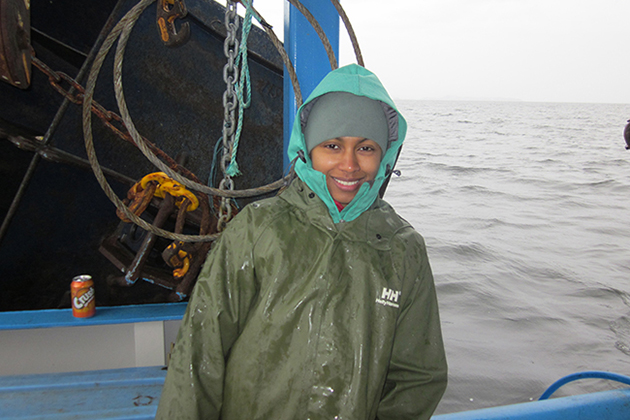 Amina Schartup, a UConn Ph.D. graduate in marine sciences and now a postdoctoral fellow at Harvard, aboard the 'What's Happening.'