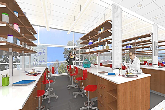 An architect's rendering of lab space in the new Engineering & Science Building.