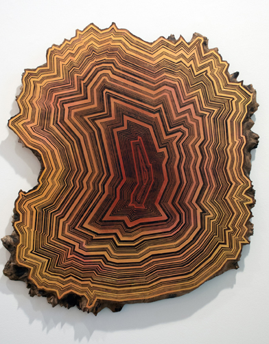 'Collecting Stones,' acrylic and wax on walnut by Jason Middlebrook. (Courtesy of Contemporary Art Galleries)