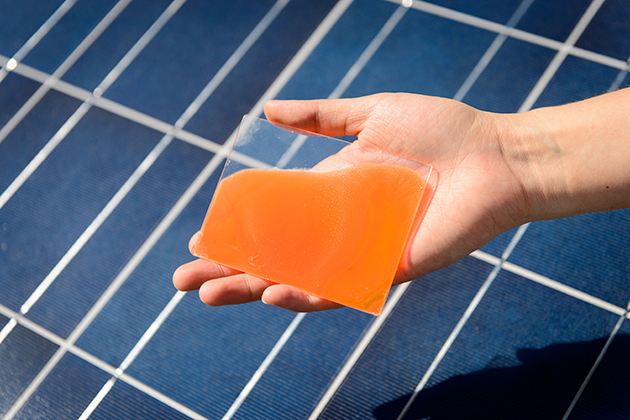 Samples of a gel that increases the efficiency of solar electric panels on Sept. 18, 2015. (Peter Morenus/UConn Photo)